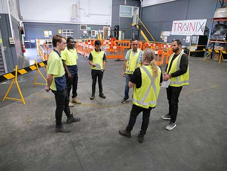 Students at a forklift course Melbourne with Trainix