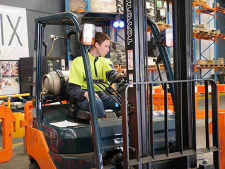 a forklift licence Melbourne student at Trainix