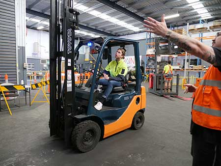 Student forklift training near me with trainer at Trainix
