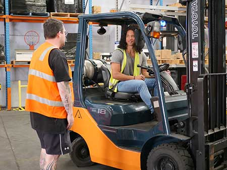Student at forklift license Melbourne with Trainix